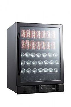 NewAir Built-In Beverage Cooler and Refrigerator, Black Stainless Steel Mini Fridge with Glass D ...