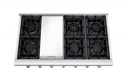 Thor Kitchen 48″ Gas Cooktops with 6 Sealed Burners Stainless Steel Gas Rangetop Cover Gas ...