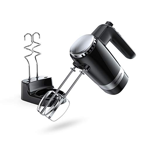 SHARDOR 10-Speed Electric Hand Mixer with Stainless Steel Beaters, Dough Hooks, Turbo, Eject But ...