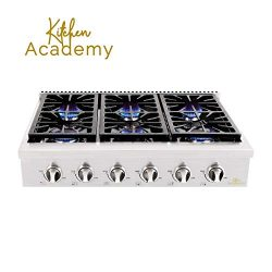 "Kitchen Academy 36""Stainless Steel Gas Cooktop Rangetop with 6 Sealed Burners"