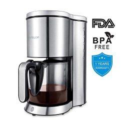 HAMSWAN Drip Coffee Maker, AD-103 Coffee Maker Coffee Pot, Small 10 Cup Coffee Machine with Glas ...