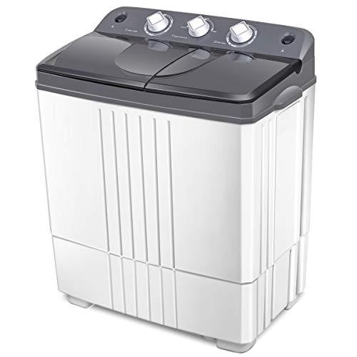 Giantex Portable Mini Compact Twin Tub Washing Machine Washer Spain Spinner (16lbs- Gray+ White)