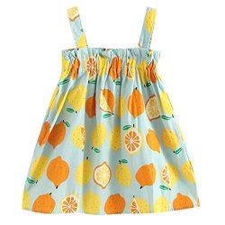 Dress Girls Ceremony Camisole Lemon Printing Dresses princess Ball Gowns Wedding Birthday Party  ...