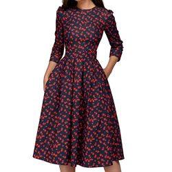 Audrey Hepburn' 50's 60's Rockabilly Round Neck Polka Dot Prom Dress, Round Ne ...
