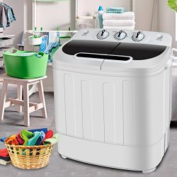 SUPER DEAL Portable Compact Mini Twin Tub Washing Machine w/Wash and Spin Cycle, Built-in Gravit ...
