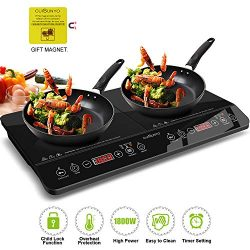 CUISUNYO Induction Cooktop, 1800W Double Countertop Burner(2 separate heating zones) with Digita ...