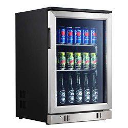 Advanics Frost Free Beverage Refrigerator and Mini Fridge Cooler with LED Lighting & Lock, 1 ...