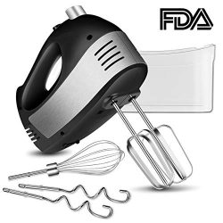 Hand Mixer Electric, 5 Speed Handheld Kitchen Mixer with Turbo Includes 2 Wider Beaters, 2 Dough ...