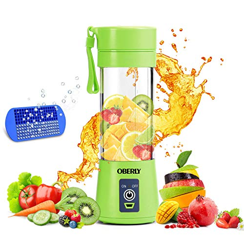 Portable Blender, OBERLY Smoothie Juicer Cup – Six Blades in 3D, 13oz Fruit Mixing Machine ...
