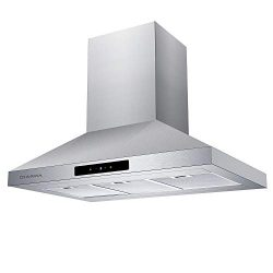 CIARRA 36-in Island-Mount Range Hood Stainless Steel Ducted/Ductless Convertible Duct Chimney Ki ...