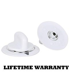 "2 Pack WE1M654 Dryer Timer Knob White with Chrome Ring Replacement Part White""D"" sha ..."