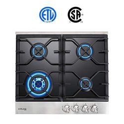 "Gas Cooktop, Gasland chef GH60BF 24"" Built-in Gas Stove Top, Tempered Glass LPG Natural Ga ..."