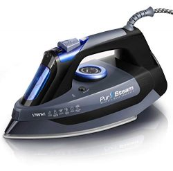 Professional Grade 1700W Steam Iron for Clothes with Rapid Even Heat Scratch Resistant Stainless ...