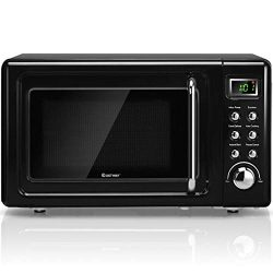 COSTWAY Retro Countertop Microwave Oven, 0.7Cu.ft, 700-Watt, Cold Rolled Steel Plate, 5 Micro Po ...