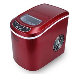 DELLA FBA_048-GM-48184 048-GM-48184 Portable Electric Ice Maker Machine, Red, Small