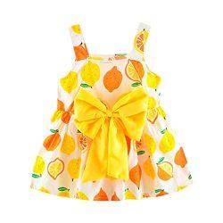 Ceremonial Dresses Baby Little Girl Lemon Print Sleevesless Grand Bow Dress Princess Skirt Toponly