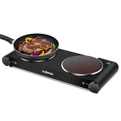 Cusimax Portable Electric Stove, 1800W Infrared Double Burner Heat-up In Seconds, 7 Inch Ceramic ...