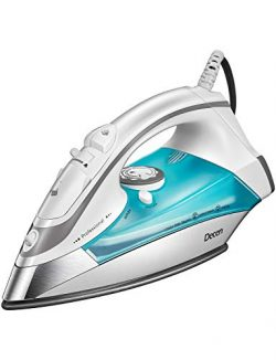 Steam Iron for Clothes, DECEN 1700W Iron with Rapid Even Heat Scratch Resistant Nonstick Solepla ...