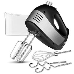 Hand Mixer Electric with Turbo Handheld, 5-Speed Hand Mixer Kitchen with 2 Wider Beaters, 2 Doug ...