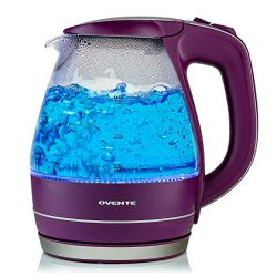 Ovente Electric Kettle, 1.5L, 1100W, BPA-Free, Heat-Tempered Borosilicate Glass, Stainless Steel ...