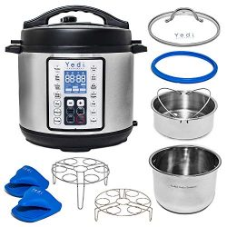 Yedi Total Package 8 Qt 9-in-1 Instant Programmable XL Pressure Cooker, Deluxe Accessory Kit, Re ...