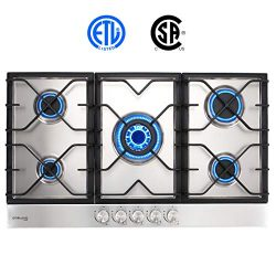 "Gas Cooktop, Gasland chef GH90SF 36"" Built-in Gas Stove Top, Stainless Steel LPG Natural G ..."