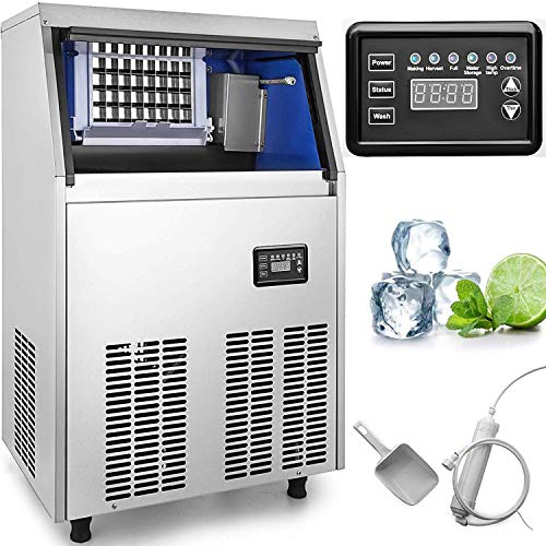 VEVOR 110V Commercial Ice Maker 150LBS/24H with 44lbs Storage Capacity Stainless Steel Commercia ...