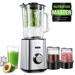 Aicook Blender, 3 in 1 Smoothie Blender, Multifunctional Glass Blender, Coffee Grinder and Food  ...