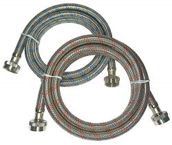 Premium Stainless Steel Washing Machine Hoses, 6 Ft Burst Proof (2 Pack) Red and Blue Striped Wa ...