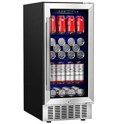 Aobosi 15″ Beverage Refrigerator, 83 Cans Built-in or Freestanding Beverage Cooler with Te ...