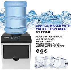 2 in 1 Water Dispenser w/Built in Ice Maker Portable Stainless Steel 33lbs/Day
