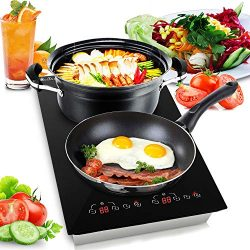 Dual 120V Electric Induction Cooker – 1800w Portable Digital Ceramic Countertop Double Bur ...