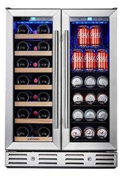 """Kalamera 24"""" Beverage and Wine Cooler Dual Zone Built-in and Freestanding with Stainless S ..."""
