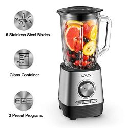 Countertop Blender, VAVA Smoothie Blender with 1500ml Glass Container, Variable Speed, Powerful  ...