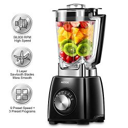 Professional Blender, 1450W Smoothie Blender with 72 Oz BPA-Free Pitcher, 58000 RPM High Speed B ...