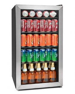 Igloo IBC35SS 135-Can Stainless Steel Glass Door Beverage Center Refrigerator and Cooler 3.5 Cu.Ft.
