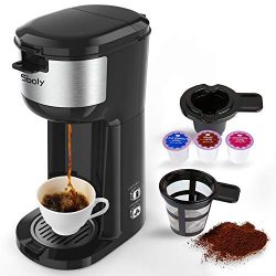 Single Serve K Cup Coffee Maker Brewer for K-Cup Pod & Ground Coffee, Compact Design Thermal ...