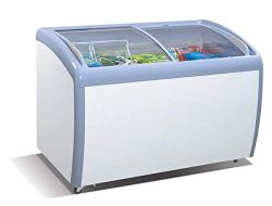 Tiger Chef Commercial Angle Curved Top Chest Freezer Glass Top, Deep Ice Cream Freezer with 2 Wi ...