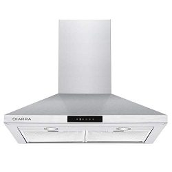 CIARRA 30 inch Wall Mount Stainless Steel Vent Hood Kitchen Range Hood Exhaust Cooking Fan Touch ...