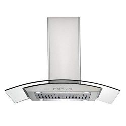 Zuhne iChorus 36 inch Kitchen Island Ducted/Ductless Stainless Steel Range Hood or Stove Vent wi ...