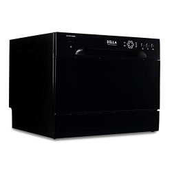 DELLA Portable Compact Countertop Dishwasher 6 Wash Cycles Dishwashers Setting Racks Silverware  ...