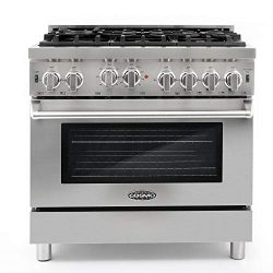 Cosmo GRP366 36 in Freestanding Gas Range | 6 Sealed Burner Rangetop, Single Convection Oven wit ...