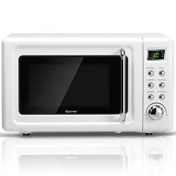 COSTWAY Retro Countertop Microwave Oven, 0.7Cu.ft, 700-Watt, Cold Rolled Steel Plate, 5 Micro Po ...