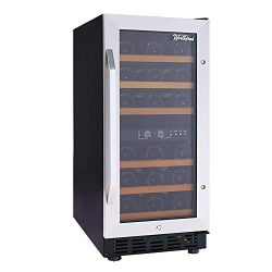 Worthyeah Built-in Wine Cooler 15 Inch Dual Zone Compressor Wine Refrigerator with Reversible Do ...