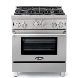 Cosmo GRP304 Gas Range with 4 Sealed Burner Rangetop, Single Convection Oven w/Light Heavy-Duty  ...