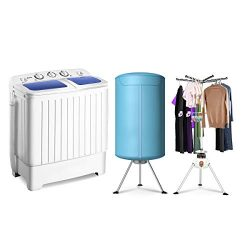 Giantex 17.6lbs Portable Washing Machine 900W with Electric Heating Clothes Dryer Ventless Laund ...