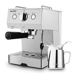 Espresso Machine Barsetto Coffee Machine 15 Bar Stainless Steel Coffee Brewer with Milk Frother  ...