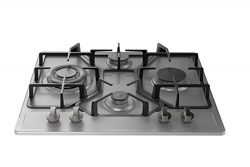 Empava 24 in. Gas Stove Cooktop 4 Italy Sabaf Sealed Burners NG/LPG Convertible in Stainless Ste ...