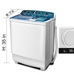 OKVAC Twin Tub Portable Washing Machine Semi-Automatic Washer Capacity (13lbs) & Spiner Capa ...