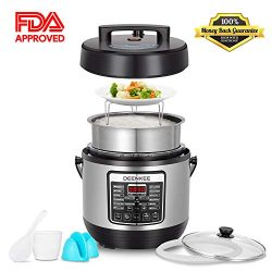 Upgraded Multi-Pot 10-in-1 6 Quart Electric Pressure Cooker with Stainless Steel Pot, Instant 10 ...